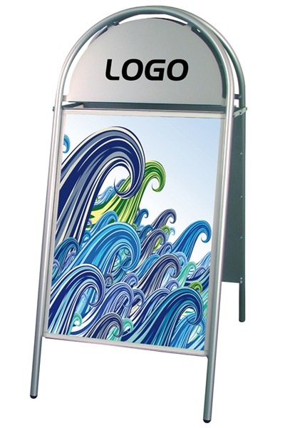 Straßenaufsteller - 50x70cm Silber - 25mm - Modell 100 Kundenstopper Expo Gotik
